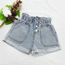 Girls Paper Bag Waist Button Fly Denim Shorts