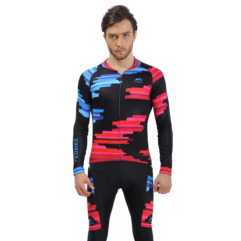 Blue Fight Red 3D Padded Pants Long Sleeve Men's Cycling Jersey