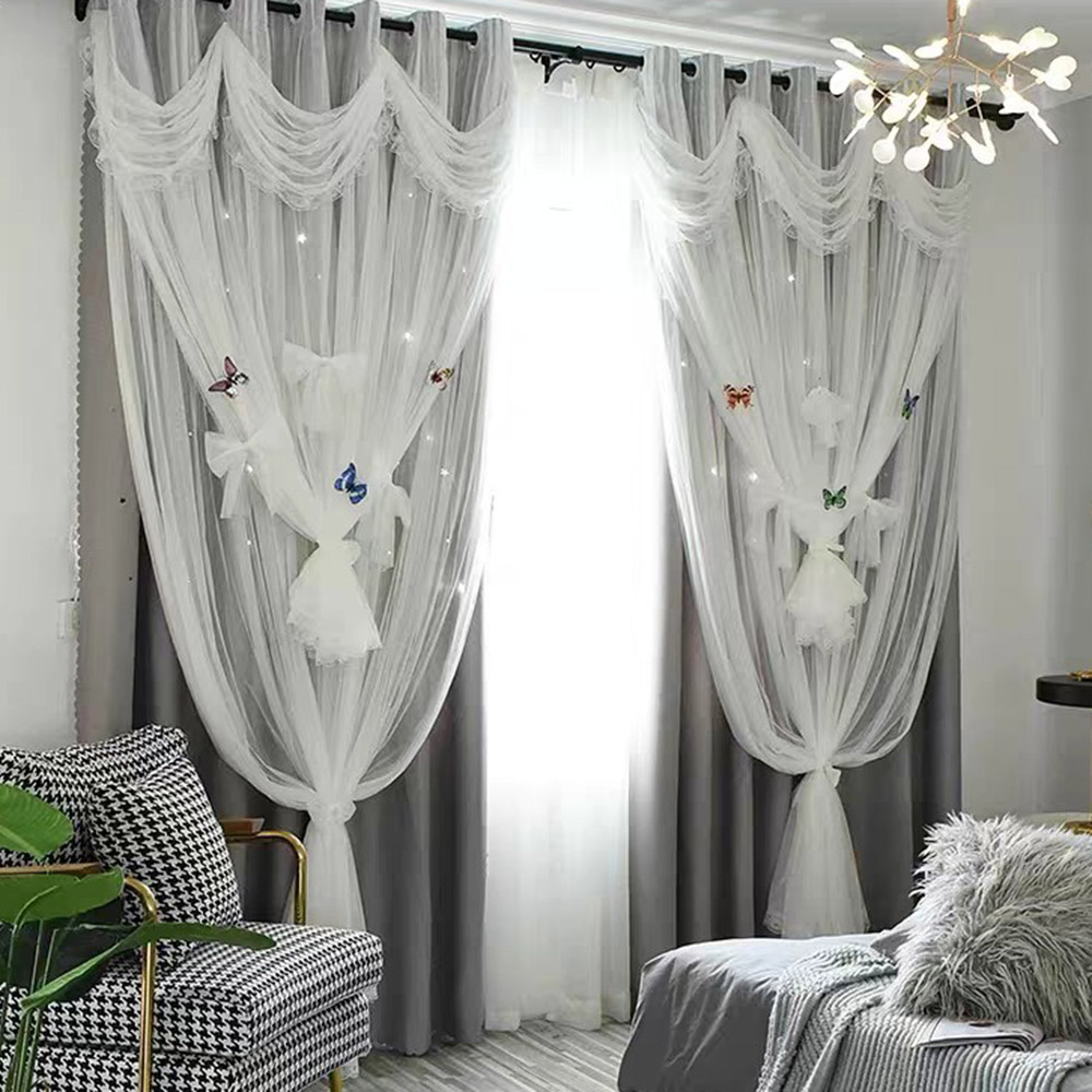 Princess Style Star Hollowed-out Blackout Decorative Curtain Set Cloth and Sheer Sewing Together Custom 2 Panels Drapes for Living Room Bedroom