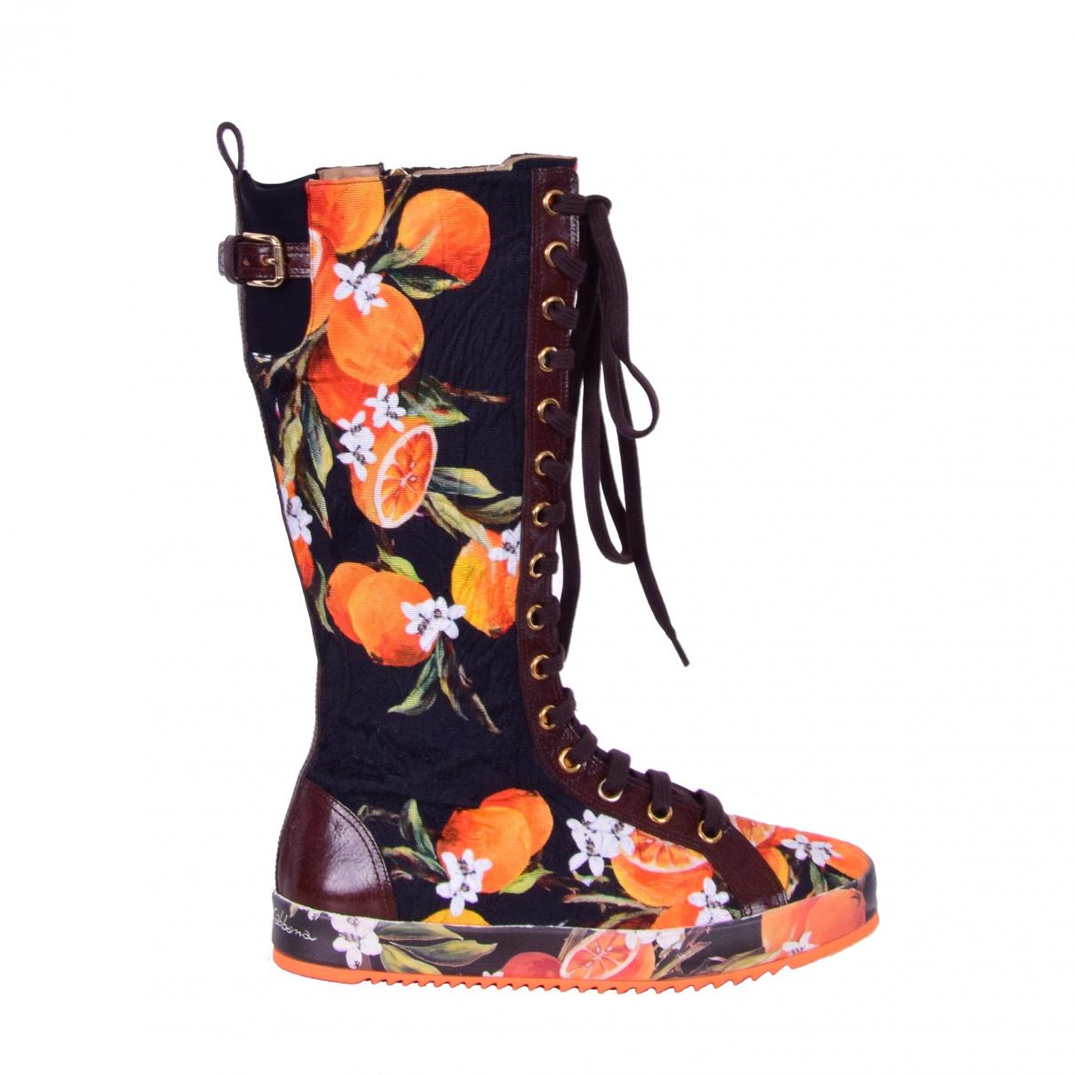 Dolce & Gabbana \N Stiefel in  Orange Leinen