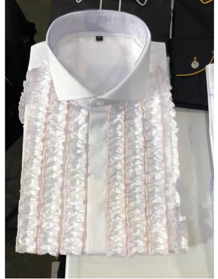 Men's Classic Ruffled Puffy Dress 1 Cotton casual Trendy tuxedo shirt