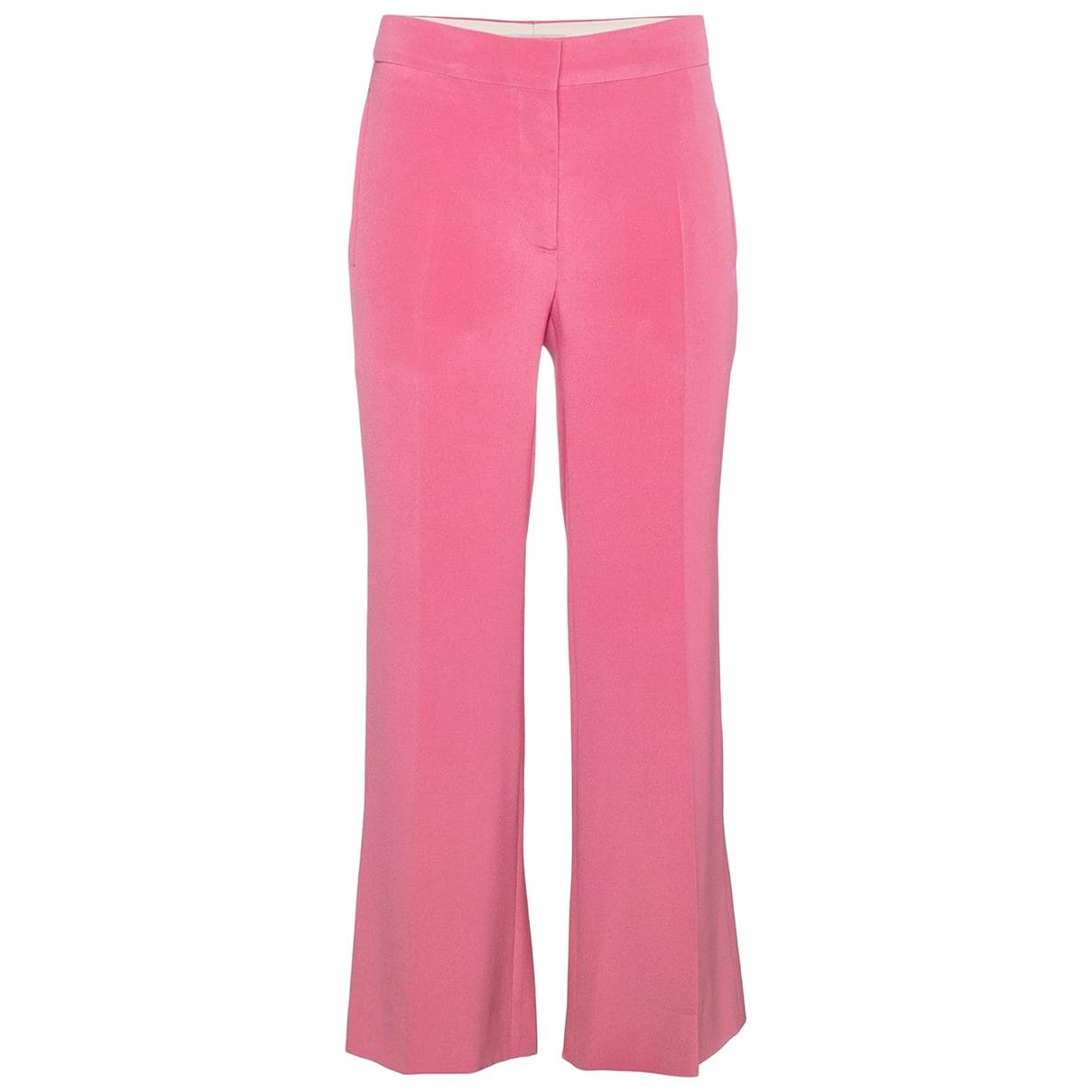 Valentino Garavani \N Pink Silk Trousers for Women 42 IT