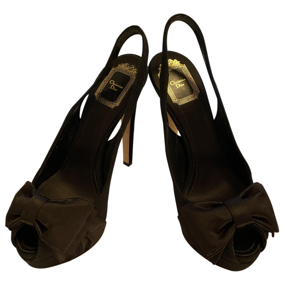 Dior N Black Velvet Heels for Women 39 EU
