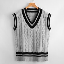 Contrast Striped Trim Cable Knit Sweater Vest