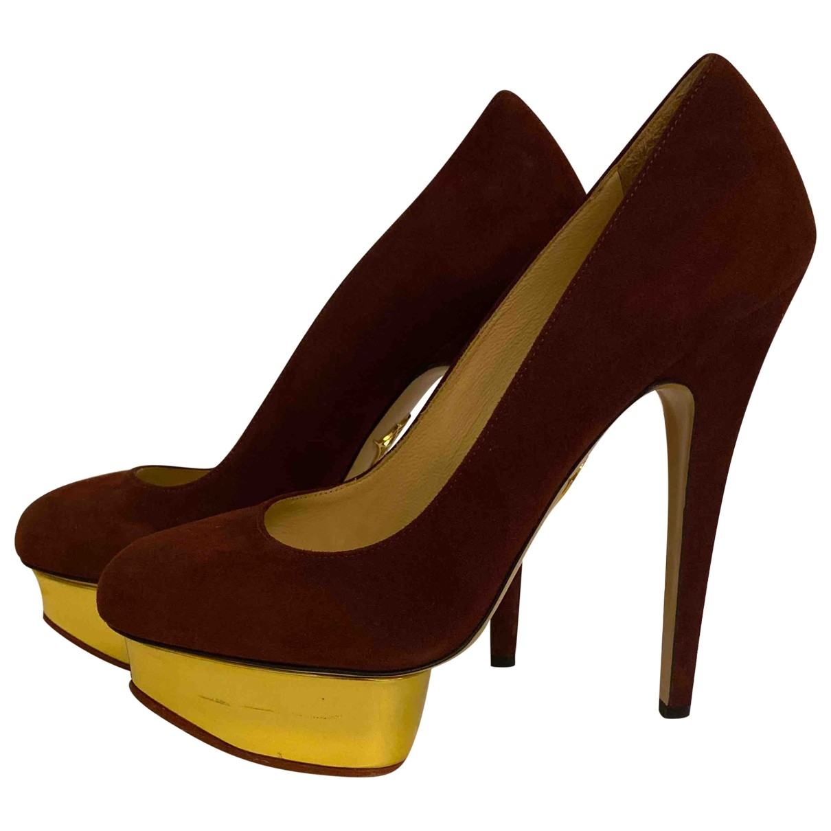 Charlotte Olympia Dolly Burgundy Suede Heels for Women 38.5 EU
