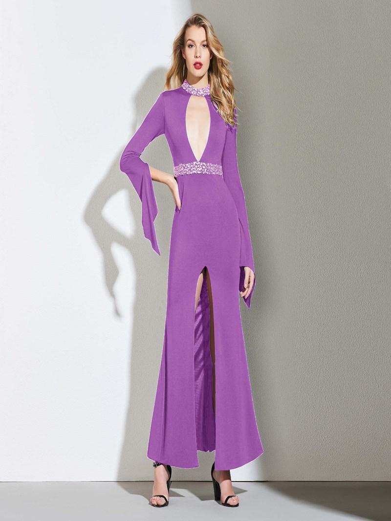 Ericdress Sheath Open Neck Long Sleeve Evening Dress With Beadings