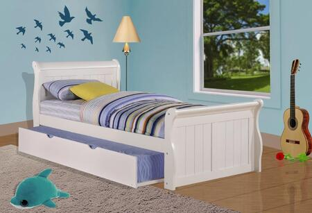 325-TW_503-W Twin Sleigh Bed With Trundle Bed in White