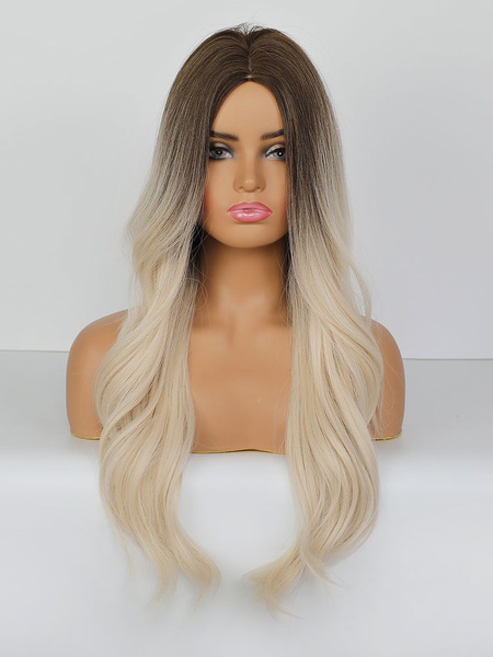 Milanoo Long Wig For Woman Coffee Brown Centre Parting Heat-resistant Fiber Boyfriend Tousled Long Synthetic Wigs