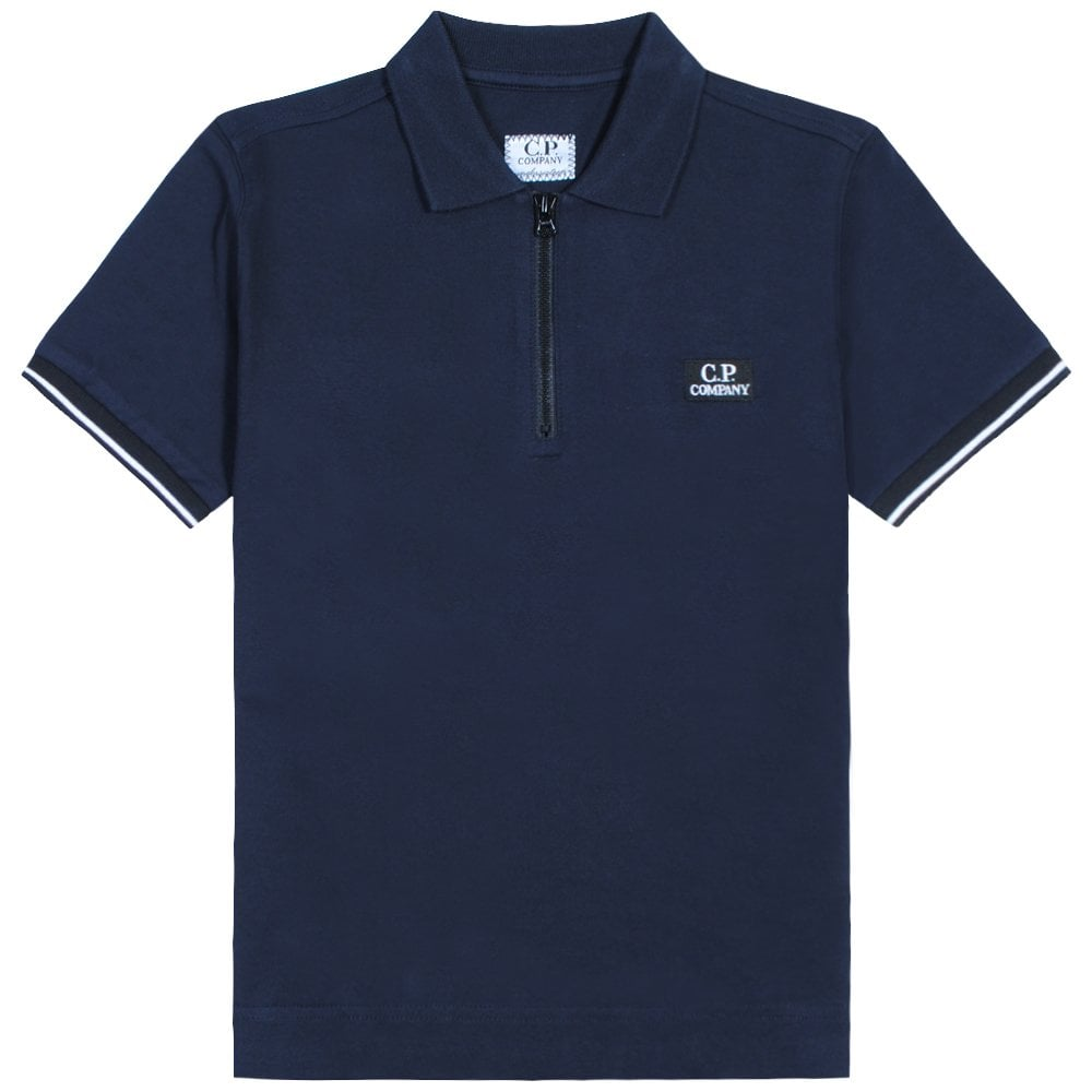 C.p. Company C.P Company Kids Zip-top Polo Colour: NAVY, Size: 10 YEARS