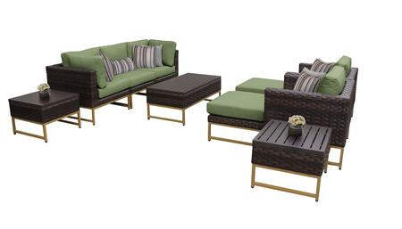 Barcelona BARCELONA-10c-GLD-CILANTRO 10-Piece Patio Set 10c with 2 Corner Chairs  2 Club Chairs  1 Armless Chair  1 Coffee Table  2 Ottomans and 2