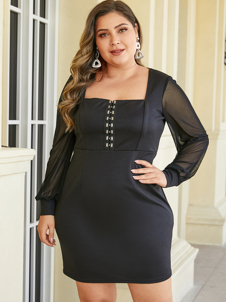 YOINS Plus Size Mesh Black Square Neck Long Sleeves Dress