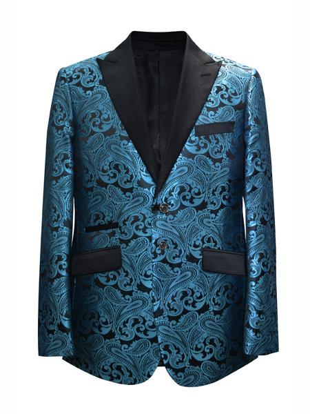 Mens 2 Button Paisley Designed Peak Lapel Teal Sport Coat Blazer