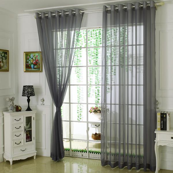 Comfort Pure Colored Gray Custom Sheer Curtain