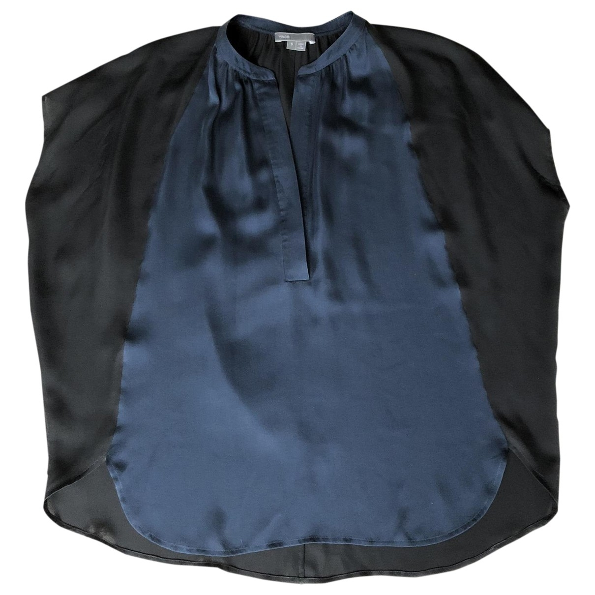 Vince - Top   pour femme en soie - bleu
