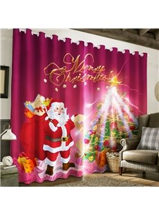 3D Santa Claus and Christmas Tree Printed 2 Panels Custom Window Drape