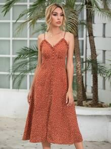 Polka Dot Frill Trim Button Front Cami Dress