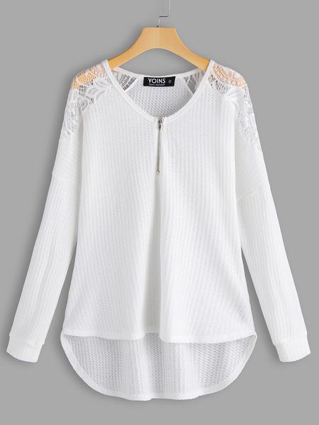 Yoins White Lace Details Plain V-neck Long Sleeves T-shirts