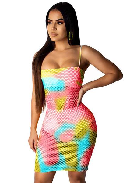 Milanoo Vestido de club para mujer Correas Cuello sin mangas Poliester Multicolor Mallas Verano Vestido sexy de verano