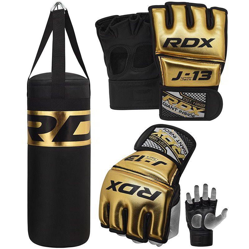 RDX J13 Dorado Set De Saco De Boxeo Y Guantes De Grappling MMA