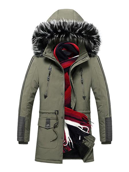 Milanoo Parka para hombre abrigo casual con capucha con bolsillos y piel para el invierno