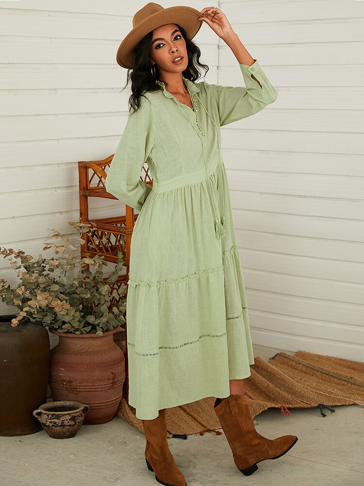 Solid Color Pleated Hollow Long Sleeve Casual Dress For Women