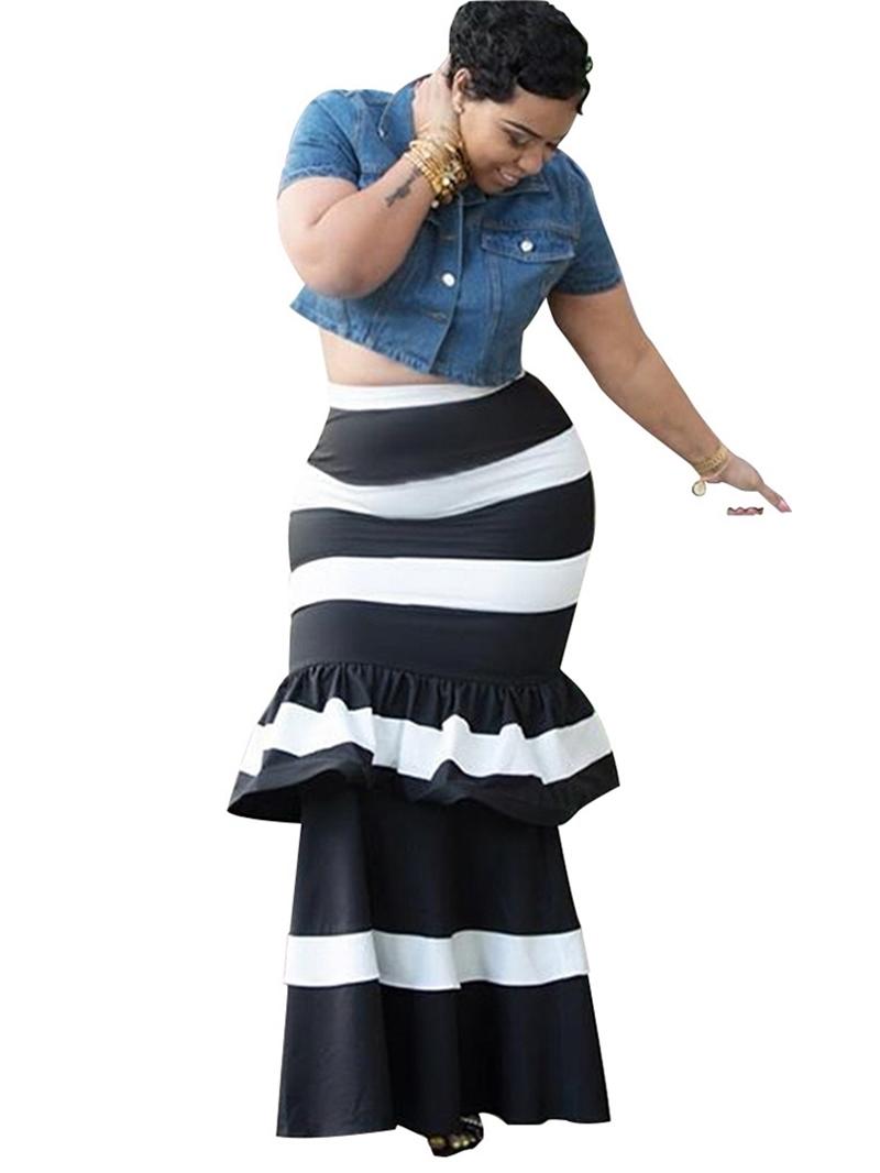 Ericdress Patchwork Stripe Ankle-Length Casual Standard Waist Skirt