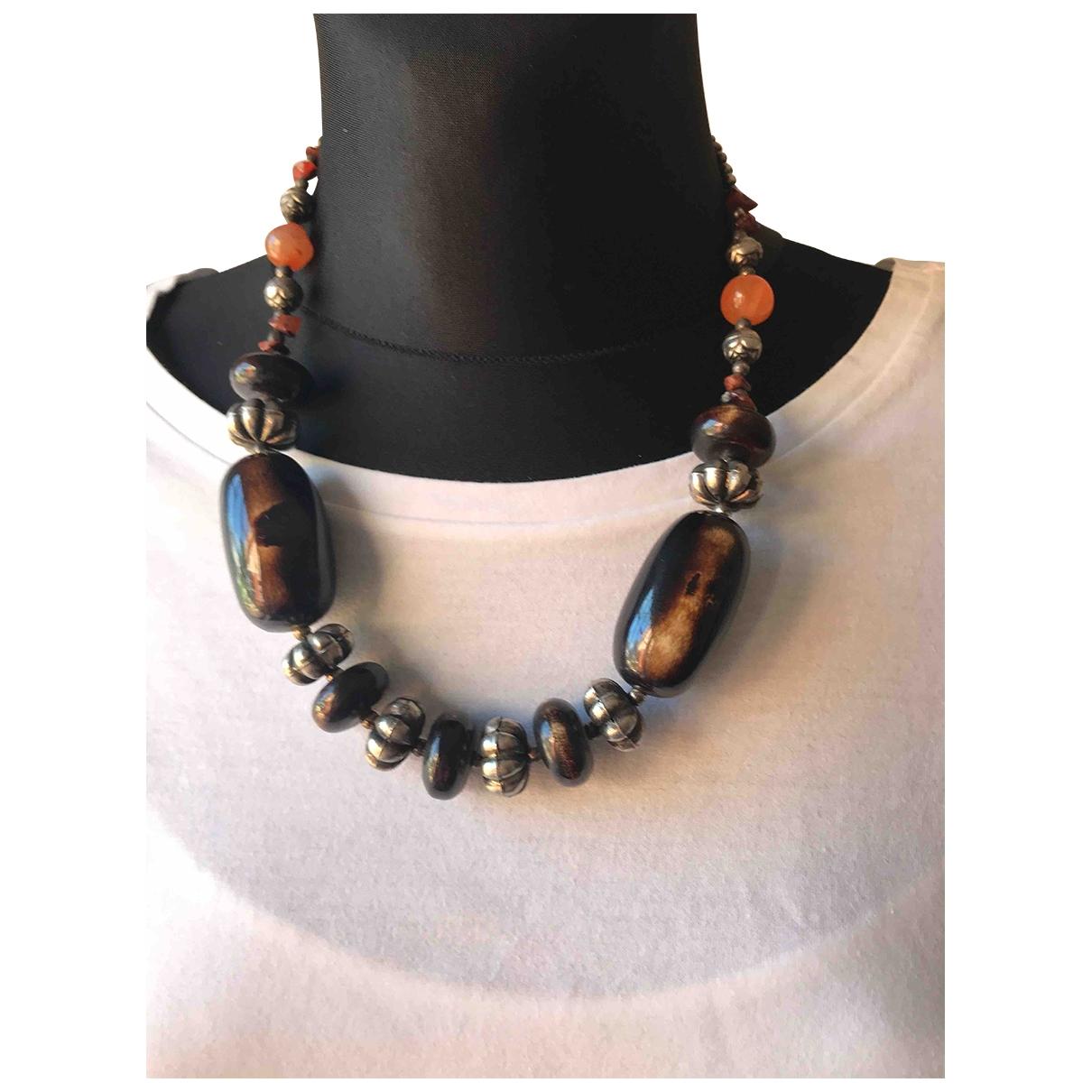 - Collier Motifs Ethniques pour femme en metal - marron