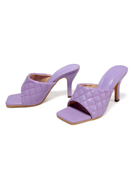 Milanoo Sandalias de mujer Tacones Nude Plaid Pattern Stiletto Heel PU Zapatillas de cuero