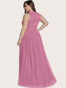 Plus Lace Bodice Chiffon Prom Dress