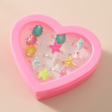 12pcs Girls Shell & Starfish Decor Ring