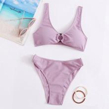 Texturierter Bikini Badeanzug mit Kreis Bindung und hoher Taille