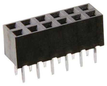 HARWIN 2mm Pitch 14 Way 2 Row Straight PCB Socket, Through Hole, Solder Termination (10)