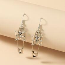 Butterfly & Safety Pin Charm Drop Earrings