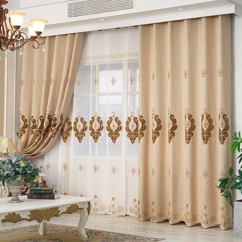 European Elegant Beige Chiffon Delicate Embroidered Custom Grommet Sheer Curtains