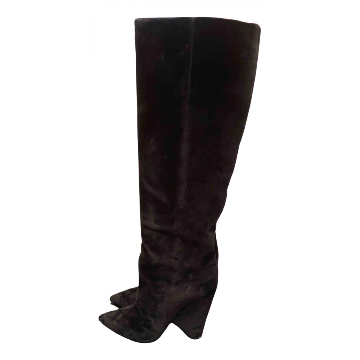Saint Laurent Niki Black Velvet Boots for Women 40 EU