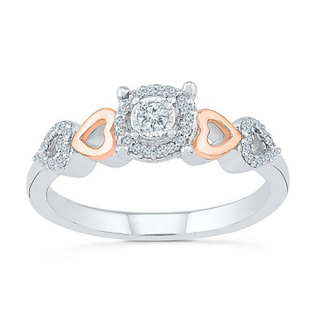 Promise My Love Womens 1/6 CT. T.W. Genuine White Diamond 10K Rose Gold Over Silver Sterling Silver Promise Ring, 4 , No Color Family