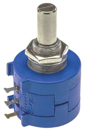 Yageo 1 Gang 10 Turn Rotary Wirewound Potentiometer with an 6.35 mm Dia. Shaft - 500Ω, ±5%, 2W Power Rating, Linear,