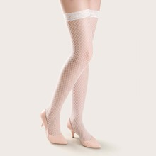Contrast Lace Trim Over The Knee Fishnet Socks