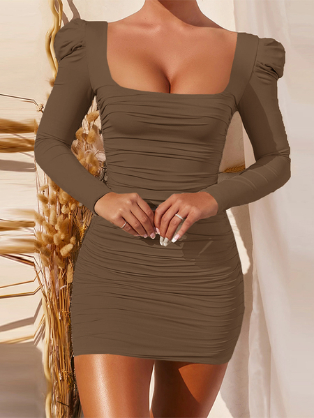 Yoins Sexy Ruched Square neck Mini Dress