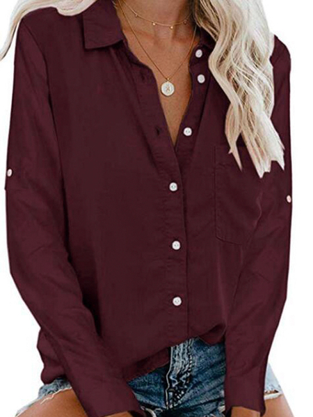 Yoins Button Front Turn Down Collar Long Sleeves Blouse