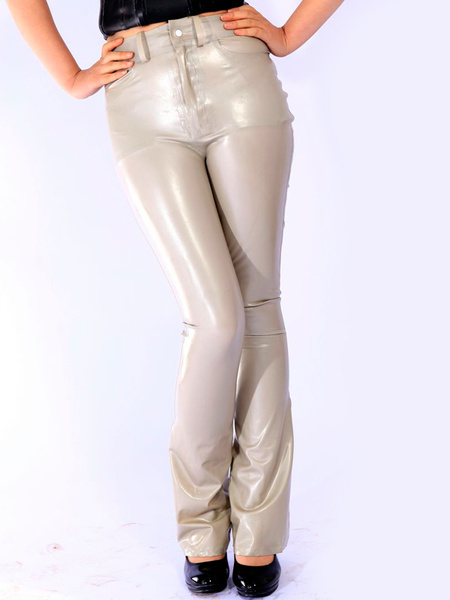 Milanoo Halloween Grey Unisex Skinny Unique Latex Leggings Halloween