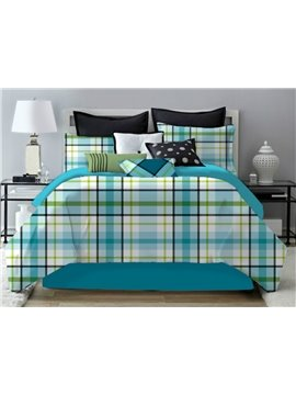 Fresh Lake Blue Geometric Plaid Pattern Polyester 4-Piece Bedding Sets/Duvet Cover