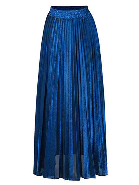 Milanoo Falda para mujer Rayas plisadas plateadas Glamour Una cintura larga en capas Casual en capas