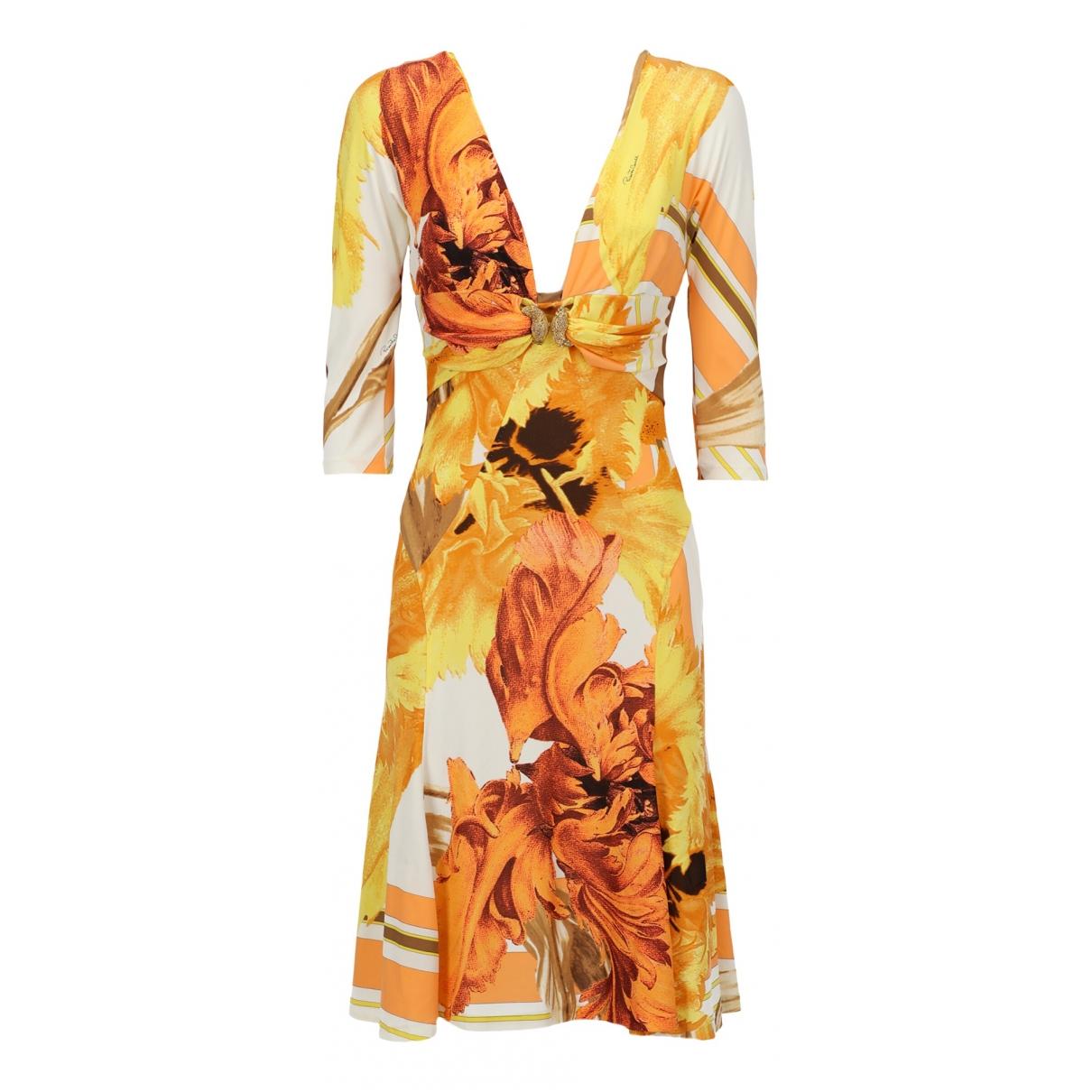 Roberto Cavalli \N Kleid in  Orange Synthetik