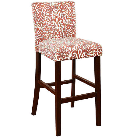 Leona Upholstered Barstool with Back, One Size , Red