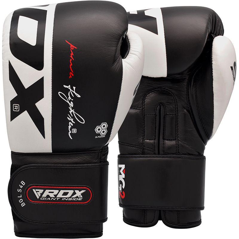 RDX S4 Sparring Boxhandschuhe Cowhide Leder Haken und Schleife 14oz Schwarz/Weiss