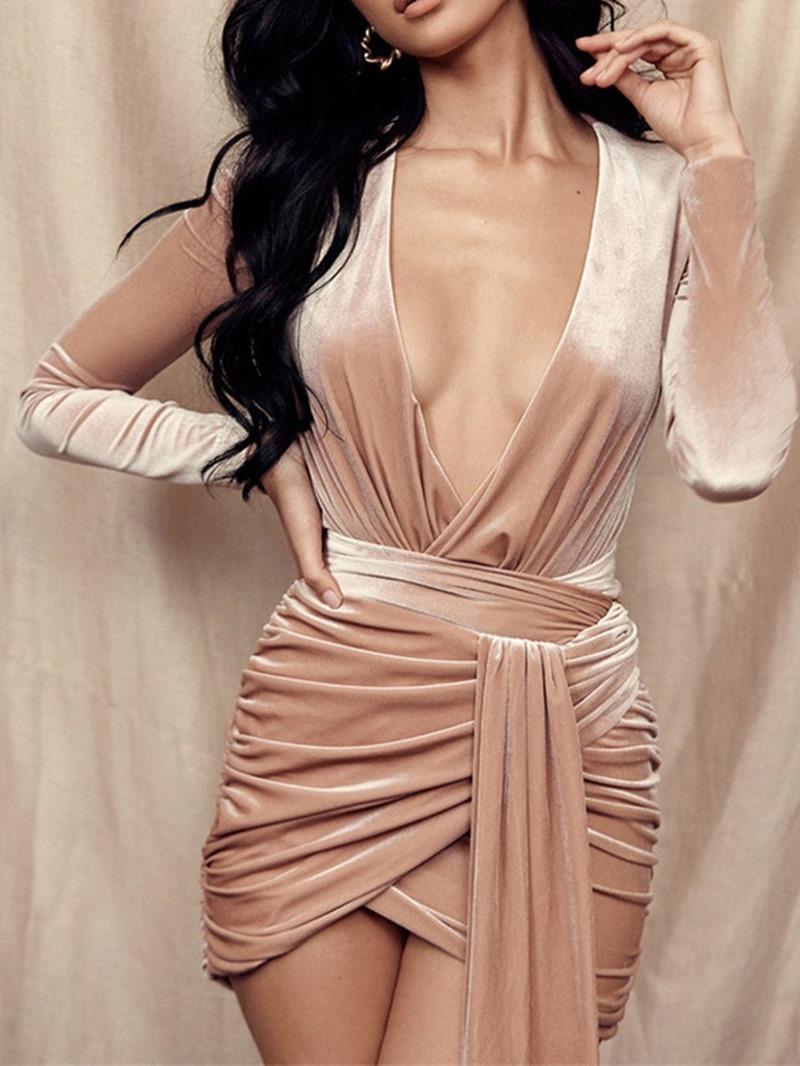 Ericdress Above Knee Long Sleeve Pleated Pullover Mid Waist Dress
