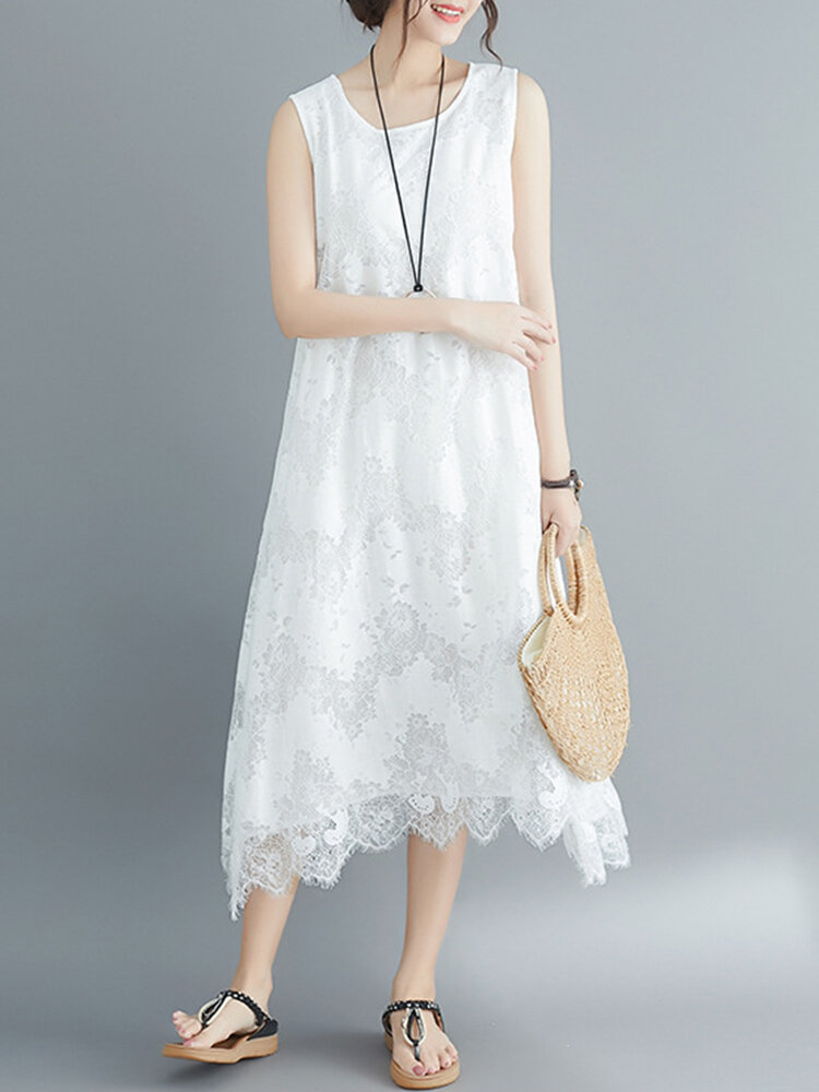 Solid Color Lace Sleeveless Vintage Dress For Women