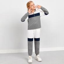 Conjunto pullover tapeta con cremallera media de color combinado con pantalones