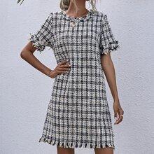 Vestidos Dobladillo sin costuras A cuadros Elegante